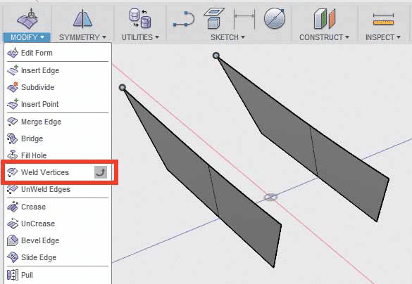 Weld Vertices во Fusion 360